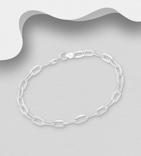 925 Sterling Silver Plain Oblong Link Bracelet